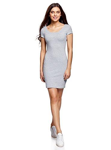 Oodji collection donna abito aderente con scollo profondo sul retro, grigio, it 50 / eu 46 / xxl
