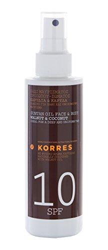 Korres Walnut & Coconut Sonnenöl für Gesicht & Körper SPF 10, 150 ml (Spf10 Natürlichen)