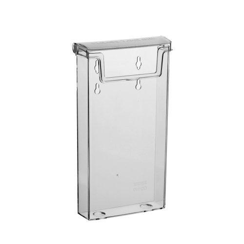 DIN Lang Prospektbox / Prospekthalter / Flyerhalter im Hochformat, wetterfest, für Außen, mit Deckel, aus glasklarem Acrylglas - Zeigis®