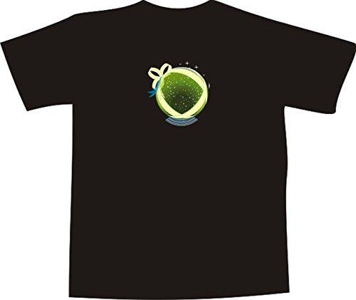 T-Shirt E096 Schönes T-Shirt mit farbigem Brustaufdruck - Logo / Comic - abstrakte Grafik Kreis mit Schleife und Sternen Mehrfarbig