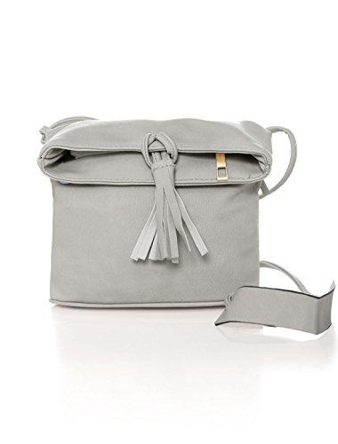 sourcingmap® Damen Zip Verschluss magnetische Snap Knöpfe Kreuzkörper Tasche graue Farbe (Hobo Handtasche Fringe)
