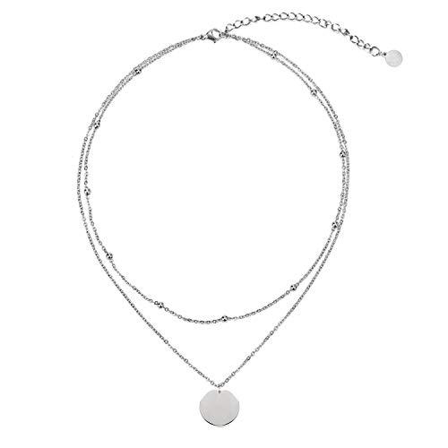 LEGITTA Damen Layered Zweireihige Kette mit Runder Plättchen Anhänger in Silber Zarte Kreis Mehrreihige Edelstahl Halskette aus Titan nickelfrei