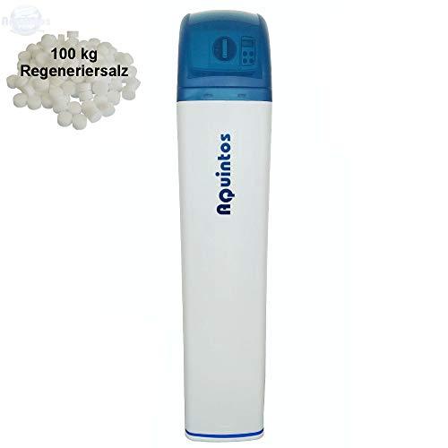 Wasserenthärter MKB100S Slim von Aquintos Wasseraufbereitung | Entkalker mit Bypass-Funktion für 100% kalkfreies Wasser | Komplettset inkl. 100 kg Regeneriersalz | Wasserenthärtungsanlage