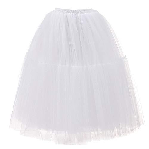 Andouy Damen Tutu Rock Midi Tüll Petticoat Vintage Mesh Layred Dance Organza Dress-up Prinzessin Größe 36-48(36-48,Sahne)