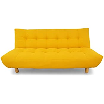 Urban Ladder Palermo Fold Out Three Seater Fabric Sofa cum Bed (Yellow)