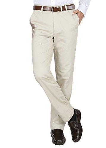 Modo Men's Regular Fit 100% Cotton Formal Dobby Cream Trouser, 30