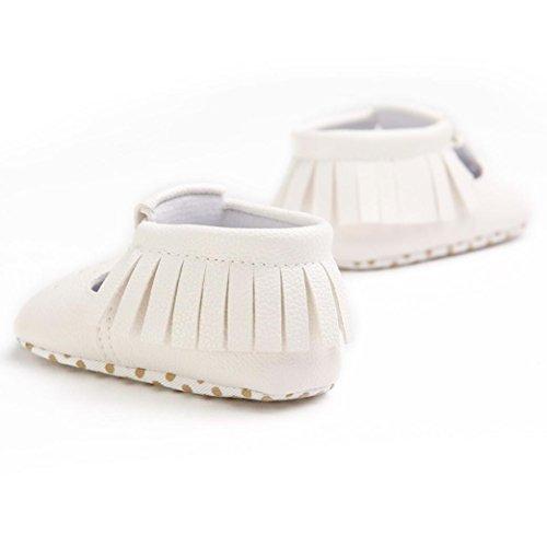 OverDose,Mignonne BéBé GarçOns Filles ÉVider Glands Chaussures AntidéRapant Semelle Souple Bambin Chaussures Blanc