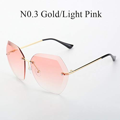 JIGHB Sonnenbrille weiblich Luxury Fashion Rimless Oversized Metal Sunglasses Women Trimmed Color Lens Sun Glasses Mirror Female Uv400