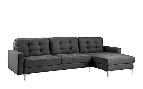 B.h.d anais–divano angolare moderno–design capitonné–tessuto–in l–276x 138x 96cm moderno grigio antracite