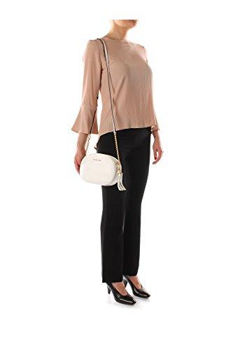 Pochette Donna MICHAEL KORS ginny in pelle saffiano con tracolla regolabile, chiusura con zip, applicazione di ciondolo con logo, tasca posteriore con bottone magnetico Bianco ottico