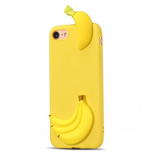 Cover iPhone 7 Plus Spiritsun Case iPhone 8 Plus Custodia Moda Ultraslim Soft TPU Case 3D Diy Handy Kawaii Cover High Quality Case Elegante Souple Flessibile Liscio Copertura Perfetta Protezione Shell Banana