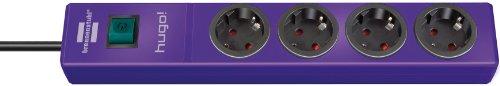 Brennenstuhl hugo! Steckdosenleiste 4-fach violett mit Schalter, 1150610134