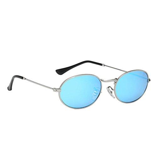 Homyl Runde Retro Lennon Sonnenbrille Vintage Polarisierte Linsen Rundbrille Hippi Brille Nickelbrille Dekobrille - Slivery Frame Slivery Blaue Linse