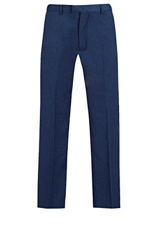 Flat-front-hose Gefüttert (Dobell Herren Königsblau Anzughose Slim Fit Schlichte Front Hose Halb Gefüttert Blau 32U)