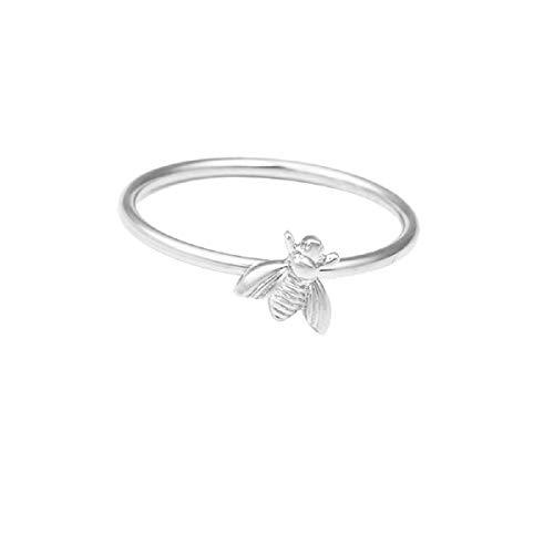 (Ringe, Barlingrock Mother's Day Ring Einfache niedliche Insekten Biene Ringe für Frauen Geburtstag Jubiläum Versprechen Schmuck Oval Weißer Zirkon Damen Ring Schmuck Silber)
