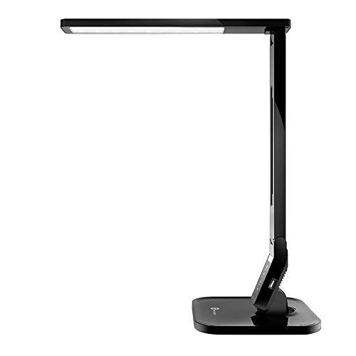 TaoTronics LED Lampe de Bureau 4 modes 5 Niveaux d'Intensité Réglable 14W Lampe de Table avec 1 Port Chargeur USB et Contrôle Tactile Fonction Minuterie et Mémoire Bras Repliable Classe Energétique A+