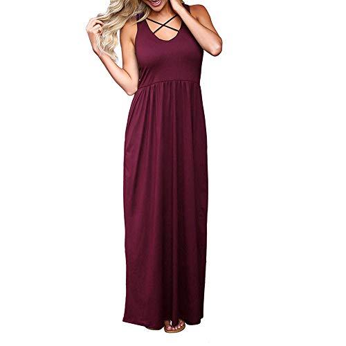 XuxMim Rockabilly Kleider Neckholder 50s Vintage Kleid Retro Knielang Kleider Damenkleider Festlich Cocktailkleider(Wein,Small)