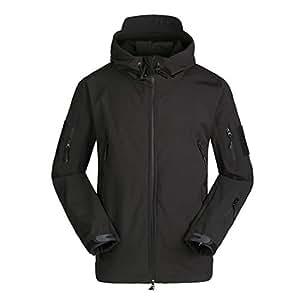CHLNIX Outdoor Tactical Winter Fleece Giacche Giacca Softshell Nera Impermeabile da Uomo con Cappuccio