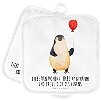Mr Topfuntersetzer 2er Set Topflappen Pinguin Luftballon mit Spruch /& Mrs Panda Kochen Farbe T/ürkis Pastell