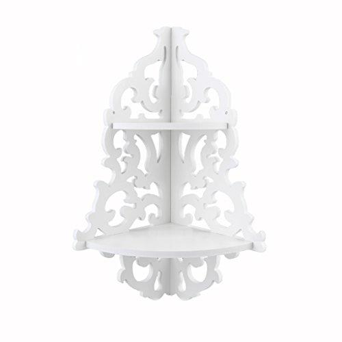 Finether weißes Wandregal Schweberegal Hängeregal Eckregal Kleines Deko Regal aus WPC Wasserdicht Wandmontage 2 Böden für Wohnzimmer Badezimmer 18x18x45cm Schmal weiß