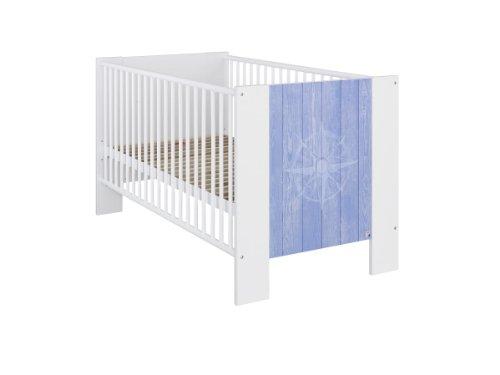 Rauch Kinderzimmerbett Babybett Weiß, Absetzung Printdekor Blau, Liegefläche 70x140 cm