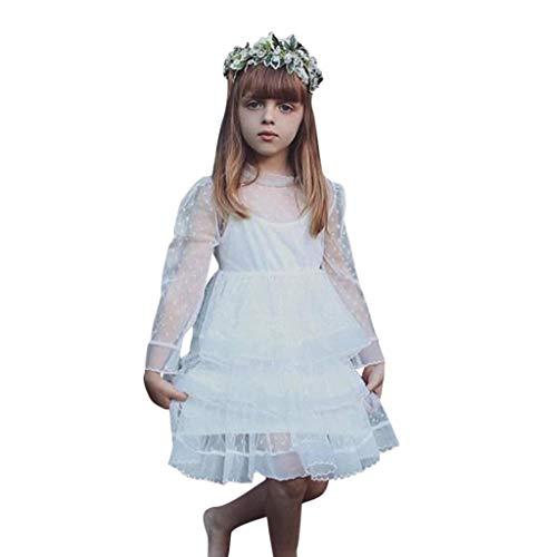sunnymi  Mädchen Kleid, Baby Spitze Tüll Langarm Kuchen Prinzessin Kleider Kleidung
