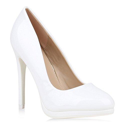 Damen High Heels Pumps Lack Schuhe Partyschuhe Stilettos 152894 Weiss Lack 37 Flandell