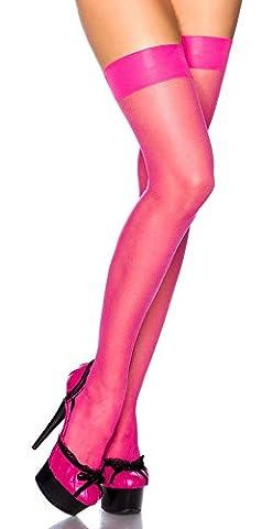 Krautwear® Damen Erotische Sexy Elegante Halterlose Sheer Overknee Strümpfe Neon 80er Jahre