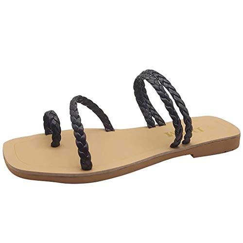 LILIHOT Damen Sandalen Sommerschuhe Böhmische Hausschuhe Frauen Sommer flach mit Karree Schuhe Casual Sandalen Pantoffel Flache Komfort Schuh - Komfort Garten Clog