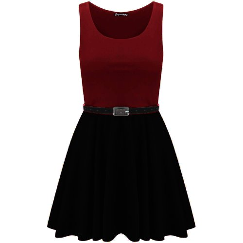 Oops Outlet Damen Skater-Kleid Ärmellos Mehrfarbig Wine - Formal Mini Short Skirt Casual