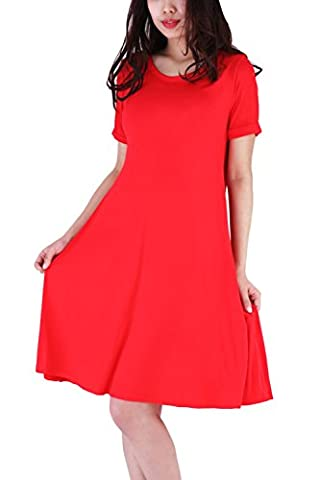 WIWIQS Women's Swing Loose Short Sleeve Tshirt Fit Comfy Casual Flowy Tunic Dress,Red L