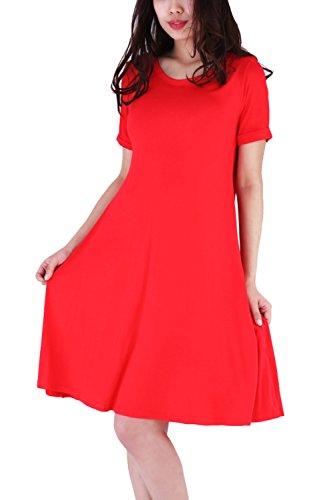 WIWIQS Frauen Schaukel lose kurzes Hülsen-T-Shirt Fit bequemes beiläufiges flowy Tunika-Kleid, rotes (Kleider Billig 1920er Jahre)