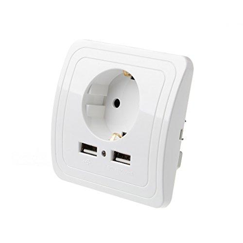 MAZE MA Dual USB Port 5V 2A Elektrisches Wand-Ladegerät Adapter EU Steckdose Schalter Stromladeausgang