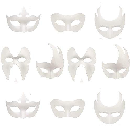 Xinlie maschera bianca non verniciata, maschere fai-da-te maschera mascherata per feste in maschera anonimo maschere per dipingere bambini per carnevale di halloween cosplay maschera (10 pezzi)