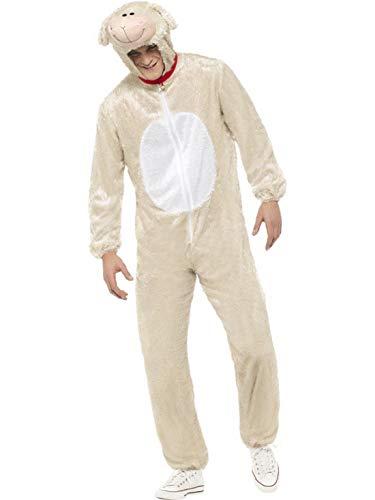 Luxuspiraten - Herren Männer Damen Kostüm Plüsch Lamm Lämmchen Schaf Sheep Lamb Fell Einteiler Onesie Overall Jumpsuit, perfekt für Karneval, Fasching und Fastnacht, M, ()