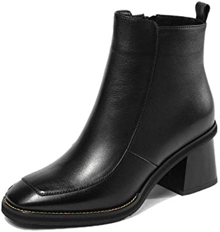 b360ff079b249 ZPEDY Chaussures pour Femmes, Bottillons, Tête Carrée, Fermeture à Mode.