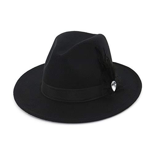 Floppy Hut Schwarzen Kostüm - Frauen Hut Breite Flache Krempe Wollfilz Jazz Hut Woll Western Cowboy Hut Floppy Hut Feder Bühne Party Hut Hut (Farbe : Schwarz)