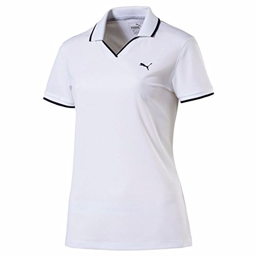 Puma Golf Damen 2018 Damen Pique Polo, damen, bright white, Large (Piqué Frauen Golf-polo)