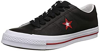 Converse Unisex's Black Red/White Leather Sneakers-6 UK/India (39 EU) (8907788081264)
