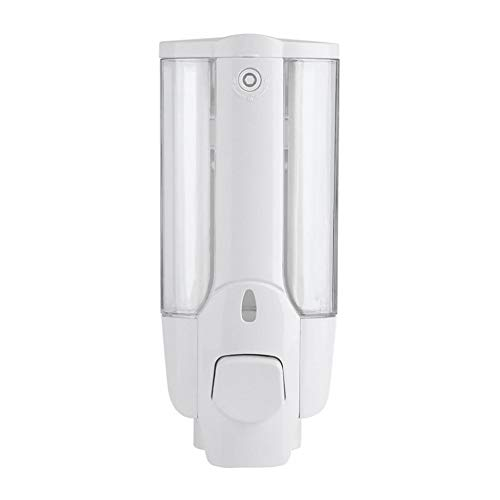 Hemore Manual Solo Botella jabón dispensador loción contenedor Pared plástico Mano líquido champú Ducha Gel dispensador (Blanco)