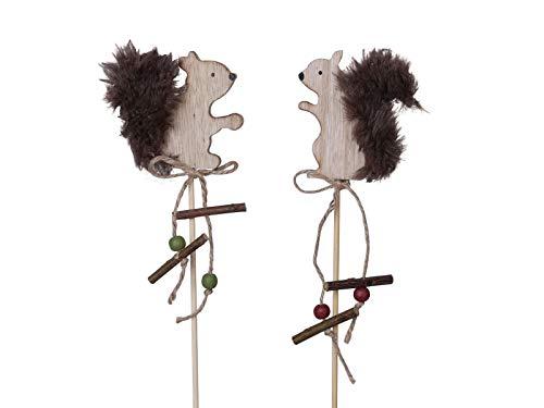 meindekoartikel 6 Dekostecker - Eichhörnchen aus Holz am Stab 2fach - braun H7/L35cm -