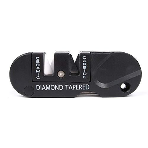 Diamond Razor Edge (JohnJohnsen Portable EDC Ceramica affilatrice per coltelli pieghevole multifunzionale in Acciaio al tungsteno campeggio esterna escursionismo per affilare i coltelli (Nero))