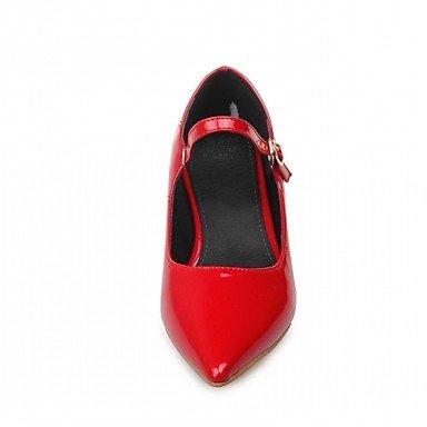 LYNXL Talloni delle donne Primavera Autunno Dress Comfort in similpelle ufficio & carriera casuale tacco grosso con fibbia Nero Giallo Rosso Bianco White
