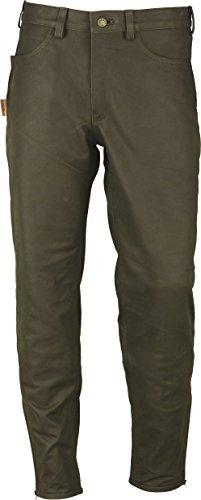 Jagd Stiefelhose Leder, Lederhose Herren Damen lang - Lederjeans- Fuente Echt Leder Lederhose Jeans 501- Jagdlederhose (52, (Herren Trachten Stiefel Grün)