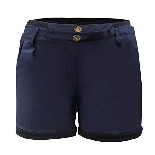 WOZOW Damen Shorts Kurze Hose Casual Low Waist Solid Einfarbig Falten Gefaltet Plissee Buttons Mini Hosen Freizeithose Stoffhose Bloomers Slim Loose Lose Mode Trousers Sommer (XL,Marine)
