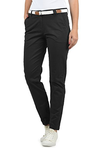 DESIRES Chakira Damen Chino Hose Stoffhose Mit Gürtel Aus Stretch-Material Slim Fit, Größe:40, Farbe:Black (9000)