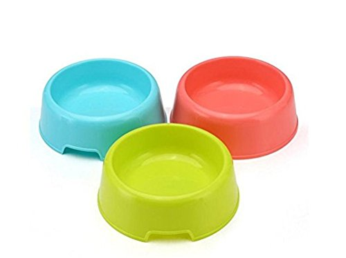 Vikenner Round Pet Dog Cat Plastic Bowl Durable Food Drink Feeder Bowl Candy Colors Feeding Dish Bowl(Blue) 5