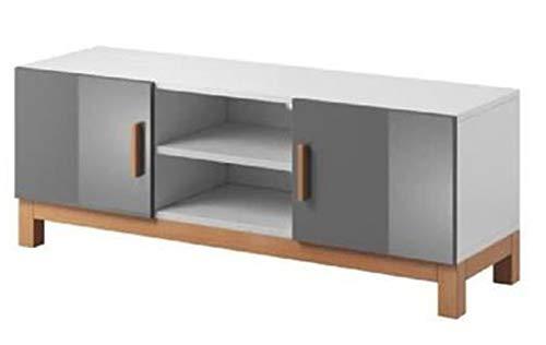PEGANE Meuble TV en Panneaux de Particules, Blanc/Gris Brillant - Dim : 140 x 42 x 50 cm