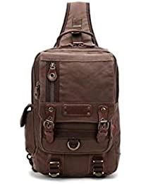 Banggood ELECTROPRIME Casual Canvas Leather Crossbody Messenger Sling Bag Chest Bag For Men Coffee
