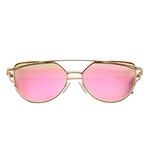 Mannli Lunette de Soleil Polarisé Femme Œil de Chat Mode Twin-Beams Metallique Verres Fashion Cateye Women Sunglasses cJBiGK